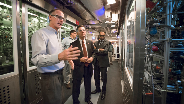 DuPont Display - Jim Collins, executive vice president, DuPont, tours the new OLED materials scale-up facility at Stine-Haskell with Avi Avula<