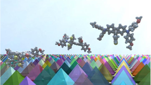 EPFL - 3-D illustration of FDT molecules on a surface of perovskite crystals