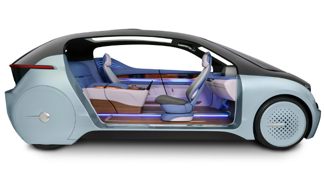YFAI/Flexenable - Autonomous car concept with OLCD incorporated in the A-pillar